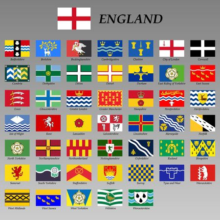 all flags of the England regions. vector illustrations