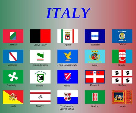 all flags of the Italy regions. vector illustrations