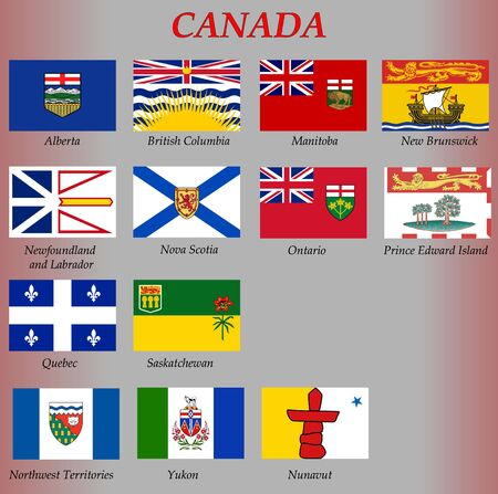 all flags of the Canada regions. vector illustrations Illustration