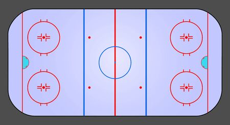 Vector ice hockey rink isolated. Top view illustration