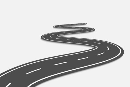 Winding Road on a transparent Background. Road way location infographic template Illustration