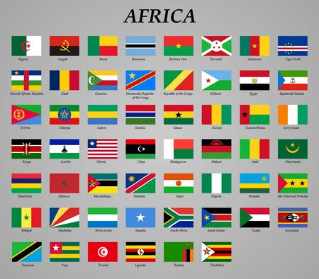 set of all flags of Africa. Vector Illustration