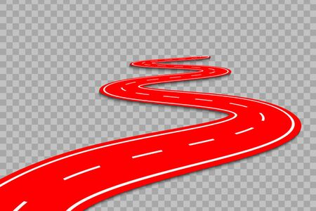Winding Road on a transparent Background. Road way location infographic template Illusztráció
