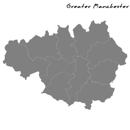 High Quality map of Greater Manchester is a metropolitan county of England, with borders of the counties Ilustração