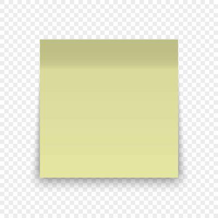 Feuille de papier de bureau ou autocollant collant avec épingle et ombre isolé sur fond transparent Vecteurs
