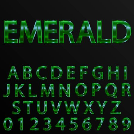 retro alphabet font. Emerald effect letters and numbers. Vector typeface set