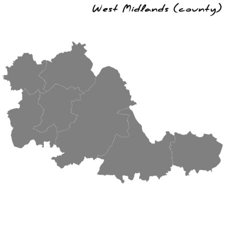 High Quality map of West Midlands is a metropolitan county of England, with borders of the counties