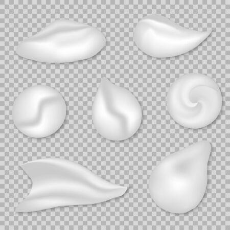 set of White cream or foam elements