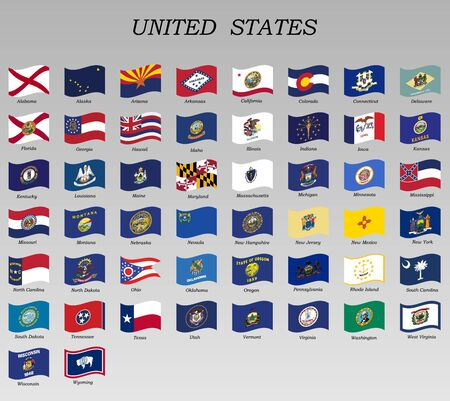 set of waving flags of states of the USA vector illustration