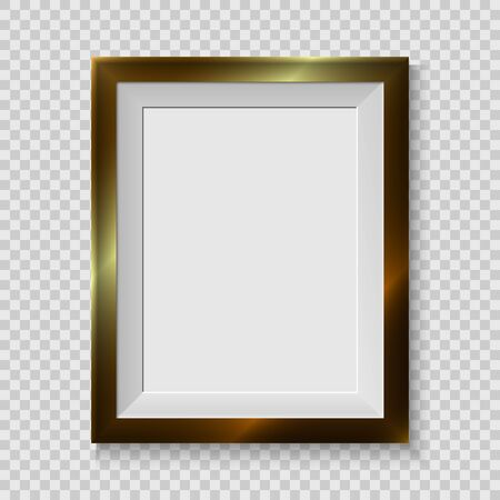 Realistic picture frame isolated on white background, for your presentations. Vector illustration
