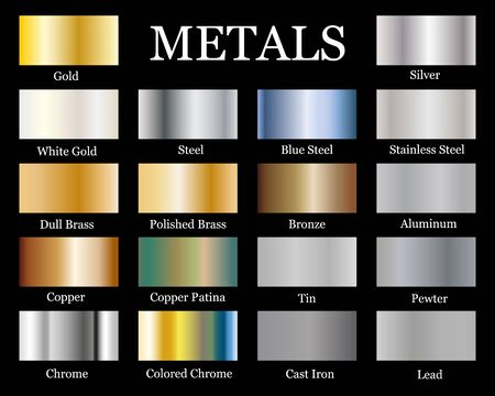 Set of Realistic metallic gradients. Vector metal collection for border, frame, ribbon design