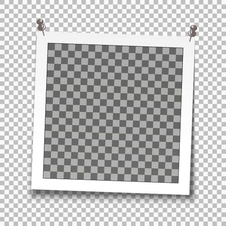 retro realistic vector photo frame, Template photo design textures. Isolated on transparent background 일러스트