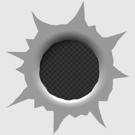 Bullet hole isolated. Vector illustration . Template for your design