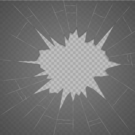 Broken glass texture. Isolated realistic cracked glass effect, concept element