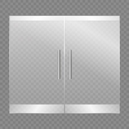 Glass doors isolated on transparent background. Vector illustration  イラスト・ベクター素材