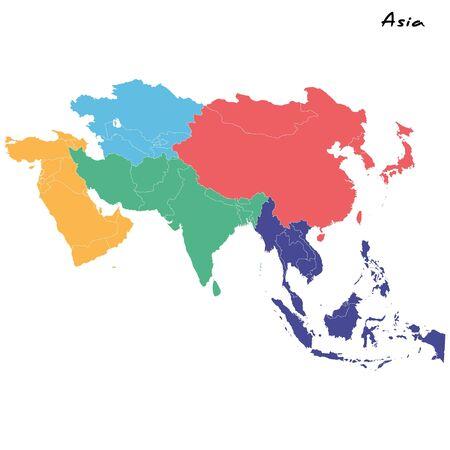 High quality map of Asia with borders of the regions Vektoros illusztráció