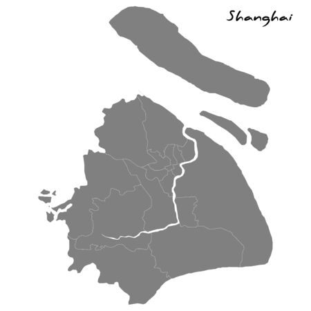 High quality map of Shanghai. Vector illustration Ilustração