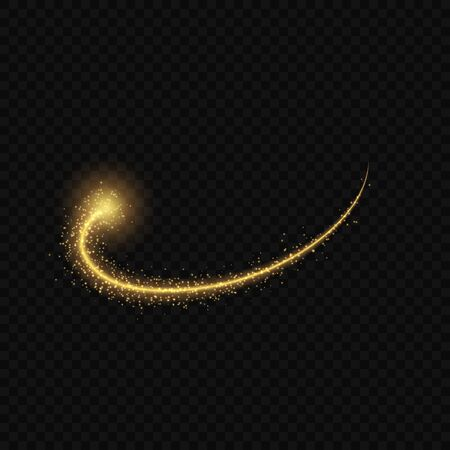 Gold glow light effect stars bursts with sparkles isolated. magic dust particles. Ilustracja