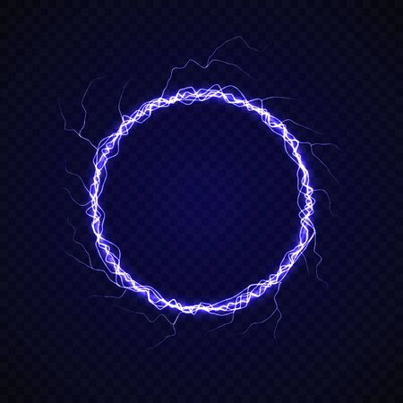 Electric circle with lightning effect. Energy flash ring