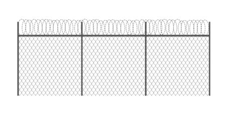 Realistic metal chain link fence with barded wire isolated Illustration