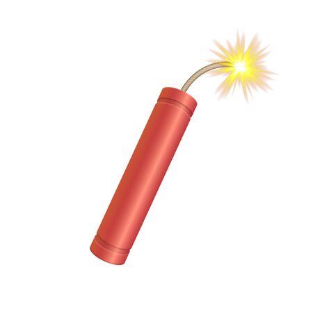 Bomba de dinamita con mecha bickford. Ilustración de Vektor