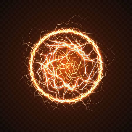 Electric ball with lightning effect. Energy flash sphere