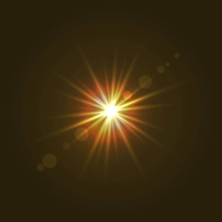Sun light with lens flare effect, shining star. Banque d'images - 132551594