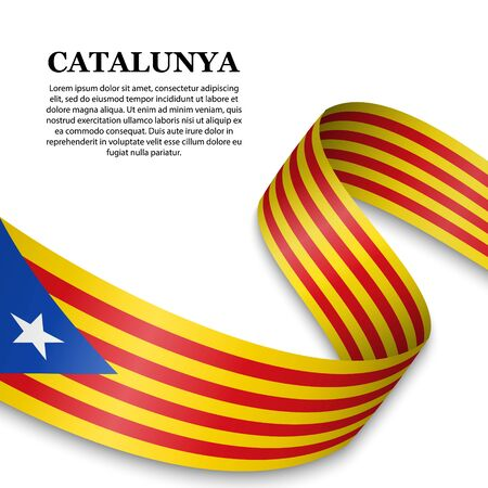 waving flag of Catalan Independentist - Estelada on white background. Template for design
