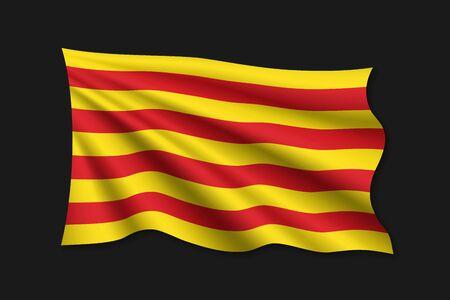 waving flag of Catalonia on white background. Template for design Illustration