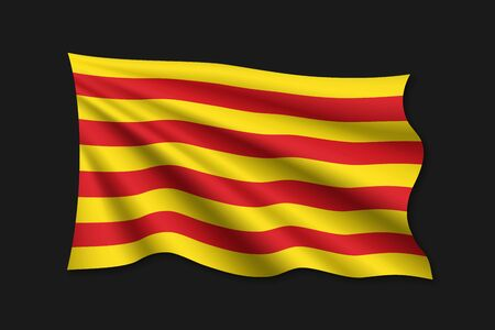 waving flag of Catalonia on white background. Template for design Banque d'images - 132551611