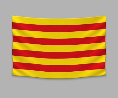 waving flag of Catalonia on white background. Template for design Çizim