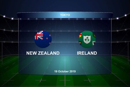 New Zealand vs Ireland, Rugby cup scoreboard broadcast graphic template