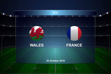 Wales vs France, Rugby cup scoreboard broadcast graphic template