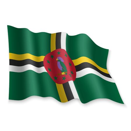 3D Realistic waving Flag of Dominica on white background