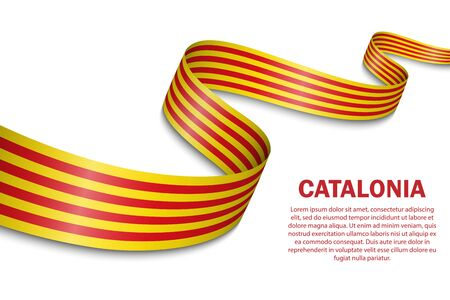 waving flag of Catalonia on white background. Template for design Illustration