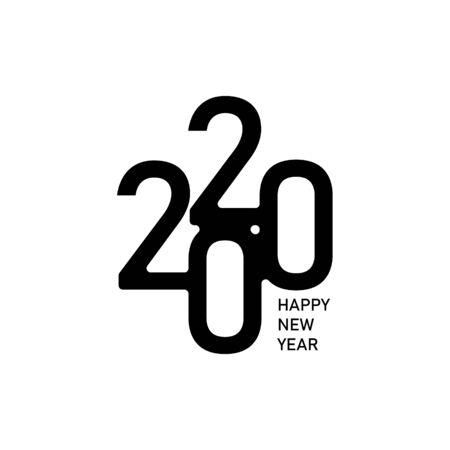 Frohes neues Jahr 2020 Text Design Logo, Vektorillustration Vector
