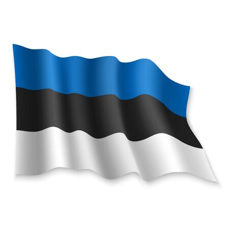 3D Realistic waving Flag of Estonia on white background