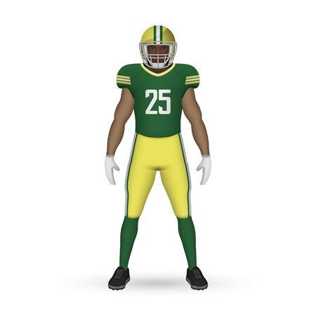 3D realistic American football player, Team Kit template design Green Bay Packers