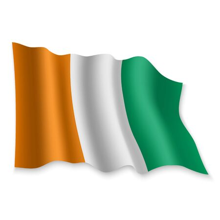 3D Realistic waving Flag of Ivory Coast on white background
