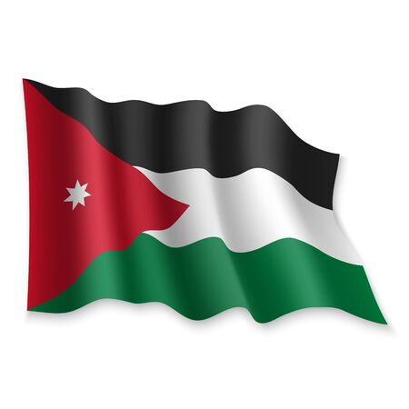 3D Realistic waving Flag of Jordan on white background