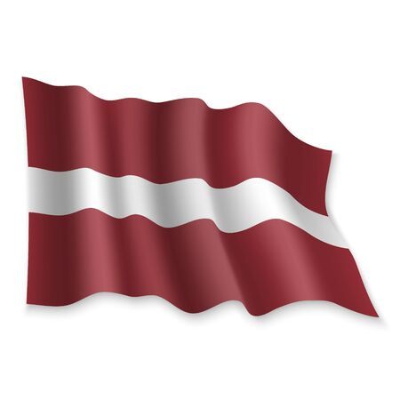 3D Realistic waving Flag of Latvia on white background Illustration