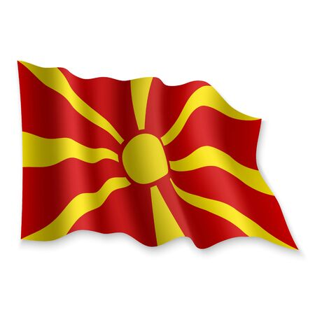 3D Realistic waving Flag of Macedonia on white background