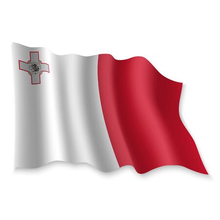 3D Realistic waving Flag of Malta on white background