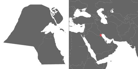 Map of Kuwait with location on asian map