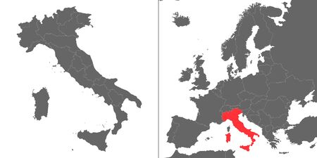 Map of Italy with location on european map