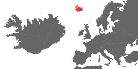 Map of Iceland with location on european map