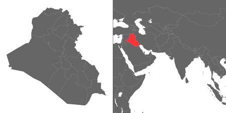 Map of Iraq with location on asian map