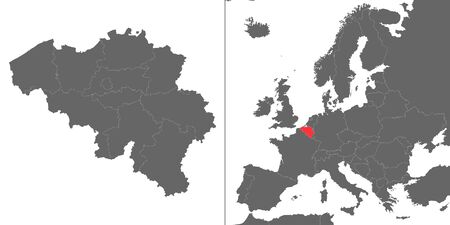 Map of Belgium with location on european map