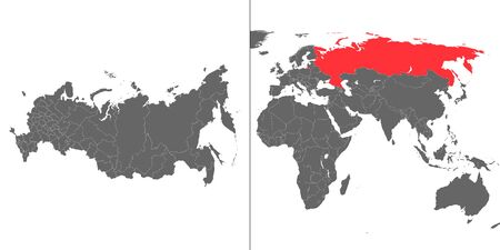 Map of Russia with location on world map