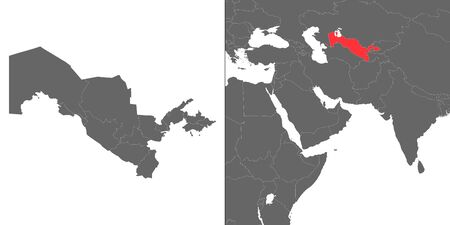 Map of Uzbekistan with location on asian map